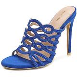 Women's Suede Rhinestone Stiletto Sandals Slip On Mules Open Toe Hollow Out Backless Gladiator Fashion Sexy Dress High Heels Slides Heeled Slippers Blue Suede Size US6 EU36