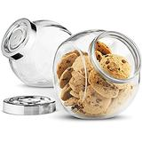 Simpli-Magic Glass Candy Cookie (2 Pack) with Plastic Airtight Seal Lid 2-Way Display, Bulk Storage Snacks, Dry Food, Jelly Beans Canister, Apothecary Jars, 75.5 Ounce, Clear