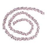 Pssopp Crystal Fringe Rhinestone Chain Horse Eye Flower Chain Bridal Trim Chain Bridal Applique Beaded Trim Chain for Clothing Necklace Ear-Drop Decoration(Pink)