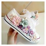 ZIJ Sneakers Wedges Canvas Shoes Women's Casual Shoes Women's Handmade Custom Three-Dimensional Sequins Flowers White Flat (Color : 1, Size : 38)