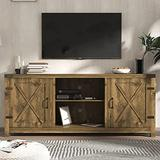Allewie 58'' Farmhouse TV Stand/TV Cabinet for Living Room, Entertainment Center with Storage cabinets, Modern Wood Media Console with 3 Adjustable Shelves for TVs Up to 65 inches, Rustic Oak