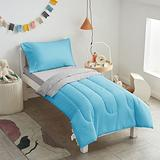 Uozzi Bedding 4 Pieces Toddler Bedding Set Ultra Soft and Breathable Toddler Sheet Set - Includes Comforter, Flat Sheet, Fitted Sheet and Pillowcase - Blue & Gray