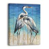 Wall Art for Bathroom Marine Style Herons Blue Sea Canvas Print Rustic Ocean Decor Retro Style Hanging on the Vintage Bedroom Dining room Kitchen Office and Fireplace Kitchen (12x16, Blue) …