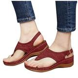 haoricu Women's Platform Sandals,Fashion T-Strap Block Heel Sandals Ankle Strap Open Toe Sandals Walking Shoes