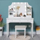 Iwell Large Vanity Table with 4 Storage Shelves & 5 Drawers, Modern Makeup Table, Vanity Set with 10 LED Lighted Mirror, Makeup Vanity with Cushioned Stool for Bedroom, Gift for Women, Girls, White