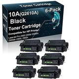 6-Pack Compatible Printer Toner Cartridge High Yield Replacement for HP 10A Q2610A Printer Toner use for HP 2300 2300d 2300dn 2300dtn 2300L 2300n Printer (Black)