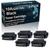 5-Pack Compatible Printer Toner Cartridge Replacement for HP 10A Q2610A Printer Toner use for HP 2300 2300d 2300dn 2300dtn 2300L 2300n Printer (Black, High Yield)