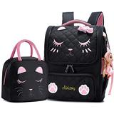 Backpacks for Girls,Kids Backpack Cat Face Backpack for Teen Girls Backpack for Girls Elementary School (Black Set- Small)