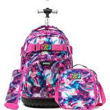 Girls Rolling Backpack Kids Backpack with Lunch Box Wheels Backpacks for Girls for School 18inch Roller Luggage