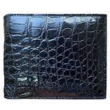 CHERRY CHICK Men's Stylish Genuine Leather Crocodile Wallet Durable Alligator Bifold Wallets Gift (Black-Belly 13-Horizontal)