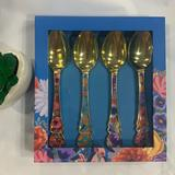 Anthropologie Dining | Anthropologie Boxed Set Of 4 Gold Floral Teaspoons | Color: Gold | Size: Box Set Of 4