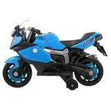 Banchy&Beauty Ride On Toy Racing Style Motorcycle Electric Tricycle Battery Operated w/ Light & Mp3 White Plastic in Blue | Wayfair