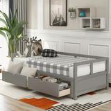 Disney Wooden Daybed w/ Trundle Bed & Two Storage Drawers, Extendable Bed Daybed,Sofa Bed For Bedroom Living Room, Gray Wood in Brown | Wayfair