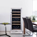 OUKANING 750 Bottle Dual Zone Freestanding Wine Refrigerator in Gray, Size 33.5 H x 15.0 W x 24.0 D in | Wayfair 11489
