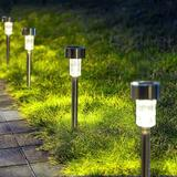 Glaustoncn Solar Pathway Lights 12 Pack, Stainless Steel IP44 Waterproof Auto On/Off Outdoor LED Pathway Landscape Solar Lights For Garden, Yard
