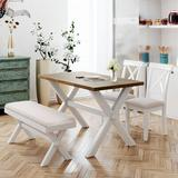 Solare 4 Pieces Farmhouse Rustic Wood Kitchen Dining Table Set For Dining Room w/ Upholstered 2 X-Back Chairs & BenchWood/Upholstered Chairs Wayfair