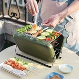 shanglixiansenxinmaoyi Mini Charcoal Grill,Charcoal Barbecue Grill Portable Anywhere,Stainless Steel Small Folding Grill, Camping Stove Grills