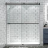Maxus Bathroom Door Bp31P2-Brush Nickle 56-60 In. W X 74 In. H Sliding Frameless Shower Door Enclosure In Brushed Nickel Tempered Glass in Gray