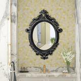 House of Hampton® Decorative Vintage Oval Wall Mirror For Home, Bedroom, Dressers, Living Room, Bathroom in Black, Size 25.2 H x 18.1 W x 2.0 D in