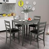Red Barrel Studio® TREXM Square Counter Height Wooden Kitchen Dining Set, Dining Room Set w/ Table & 4 Chairs Wood/Upholstered Chairs in Gray