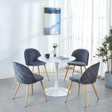 Everly Quinn 1+4 Dining Sets,Coffee Sets,Office Table Sets Wood/Metal/Upholstered Chairs in Brown, Size 28.74 H in   Wayfair