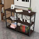 Rebrilliant 3 Tier Shelf Shelving Rack, Bookcase Wood/Steel in Brown, Size 31.5 H x 43.4 W x 15.7 D in | Wayfair ADDF56A05FE14893B890DA4250B83975