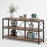 """Latitude Run® 55"""" Console Table, TV Stand, Sofa Table w/ Storage Shelves Wood in Brown/Gray, Size 30.0 H x 55.0 W x 11.8 D in   Wayfair"""