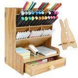 Inbox Zero Pencil Holder For Desk, Easy Assembly Desk Organization & Storage For Home Office Stationary Desktop Supplies Organizer in Brown | Wayfair