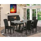 Winston Porter Aimantas 7-Pc Kitchen Dining Set - 6 Kitchen Chairs & 1 Modern Rectangular Cement Dining Room Table Top w/ High Chair Back | Wayfair