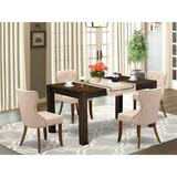 Winston Porter Aggappora 5-Pc Dining Room Table Set- 4 Parson Dining Chairs w/ Light Tan Linen Fabric Seat & Button Tufted Chair Back in Brown
