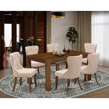 Lark Manor™ Perryman Rubber Solid Wood Dining Set Wood/Upholstered Chairs in Brown, Size 30.0 H in | Wayfair 102DD595B2EA4E77ADBA7782ACA3EBD2