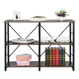 Rebrilliant 3 Tier Shelf Shelving Rack, Bookcase Wood/Steel in Gray, Size 31.5 H x 43.4 W x 15.7 D in | Wayfair 84259C26D1874AE1B2C5A2ABDE604E5A