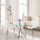 Orren Ellis Set Of 6 Modern Creative Birds Nest Dining Side Chairs Stackable Chairs, Comfortable Seat & Stable Metal Base (6-pack in Gray | Wayfair