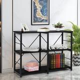 Rebrilliant 3 Tier Shelf Shelving Rack, Bookcase Wood/Steel in Black, Size 31.5 H x 43.4 W x 15.7 D in | Wayfair 18858C90092D42EBAAB7142D0924741C