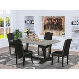 Winston Porter Aimee-Mae 5-Pc Kitchen Dining Set - 4 Parson Chairs & 1 Modern Rectangular Cement Dining Table Top w/ High Chair Back | Wayfair
