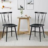 Gracie Oaks Set Of 2 Armless Cross Back Kitchen Dining Side Chairs in Black, Size 32.5 H x 16.0 W x 21.0 D in | Wayfair