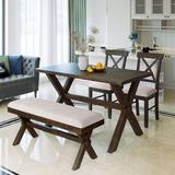 Gracie Oaks 4 Pieces Farmhouse Rustic Wood Kitchen Dining Table Set w/ Upholstered 2 X-Back Chairs & Bench+BeigeWood/Upholstered Chairs in Brown