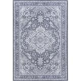 Bungalow Rose Keya Machine Washable Traditional Oriental Area Rug, GrayPolyester/Cotton in White, Size 72.0 H x 48.0 W x 0.04 D in | Wayfair