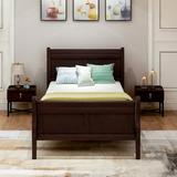 Canora Grey Utgard Twin Solid Wood Low Profile Platform Bed Wood in Black/Brown/Green, Size 35.5 H x 41.3 W x 81.4 D in | Wayfair