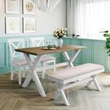Gracie Oaks 4 Pieces Farmhouse Rustic Wood Kitchen Dining Table Set w/ Upholstered 2 X-Back Chairs & Bench,White+BeigeWood/Upholstered Chairs
