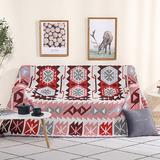 Union Rustic 70.8X90.5Inch Decorative Throw Blanket Cover Tassel Durable Couch Sofa Chair Bed Knitted Rug Polyester/Cotton blend in Gray/Red/White