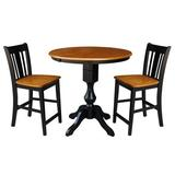 Alcott Hill® Rhian Counter Height Extendable Rubberwood Solid Wood Dining Set Wood in Brown, Size 36.1 H in   Wayfair