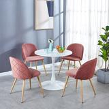 Corrigan Studio® 5 Pieces Dining Table Set,1+4 Dining Sets,Coffee Sets,Office Table Sets Wood/Metal/Upholstered Chairs in Brown/Pink/White | Wayfair