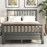 Red Barrel Studio® Wood Platform Bed w/ Headboard & Footboard, Twin, bed, Solid Wood Bed, Comfortable Bed() Wood in Gray, Size 54.4 W x 75.9 D in