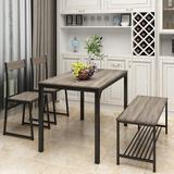 Latitude Run® 4 Piece Dining Set For 4 Kitchen Table Set Computer Desk w/ 2 Chairs & Bench For Home Dining Room, Brown Wood/Metal in Gray | Wayfair