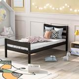 Harriet Bee Yorkville Twin Platform Bed Wood in Black/Brown/Green, Size 35.0 H x 42.0 W x 80.0 D in | Wayfair 45173EB466B94E8EA1EB195349207BAD