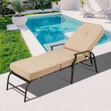 Ivy Bronx Adjustable Outdoor Chaise Lounge Chair Patio Lounge Chair Recliner Furniture w/ Armrest & Cushion For Deck, Poolside | Wayfair