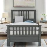 Red Barrel Studio® Wood Platform Bed w/ Headboard & Footboard, Twin, bed, Solid Wood Bed, Comfortable Bed() Wood in Gray, Size 39.2 W x 75.9 D in