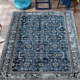 Charlton Home® Persian Area RugFloorcover Floral Pattern Kashan Traditional Non Slip Vintage Carpet in Blue, Size 1008.0 H x 756.0 W in | Wayfair