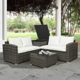 Red Barrel Studio® 4 PCS Outdoor Cushioned PE Rattan Wicker Sectional Sofa Set Garden Patio Furniture Set (Beige Cushion)Metal/Wicker/Rattan/Rust